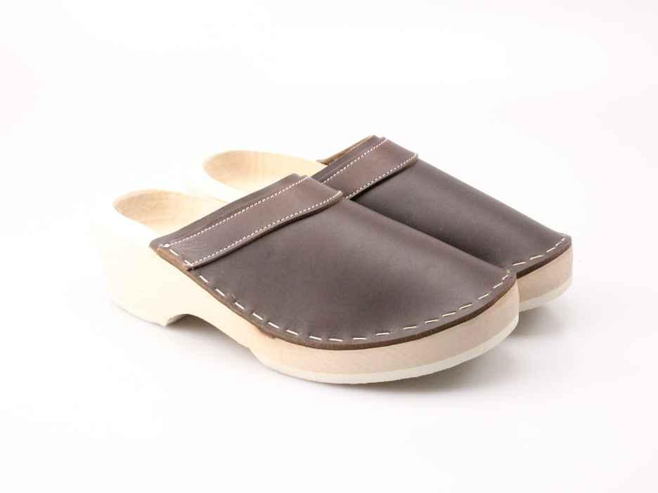 Holzschuhe in Leder ohne Schnalle