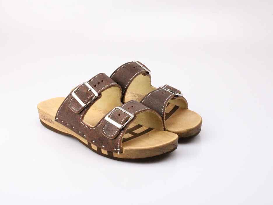 Bewegliche Sandale mit 2 Riemen in Leder