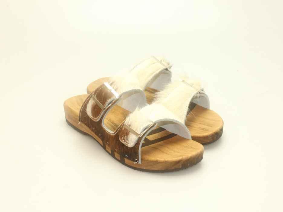 Bewegliche Sandale mit 2 Riemen in Fell